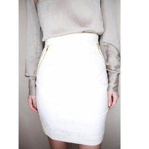 H&M White Business Pencil Printed Skirt